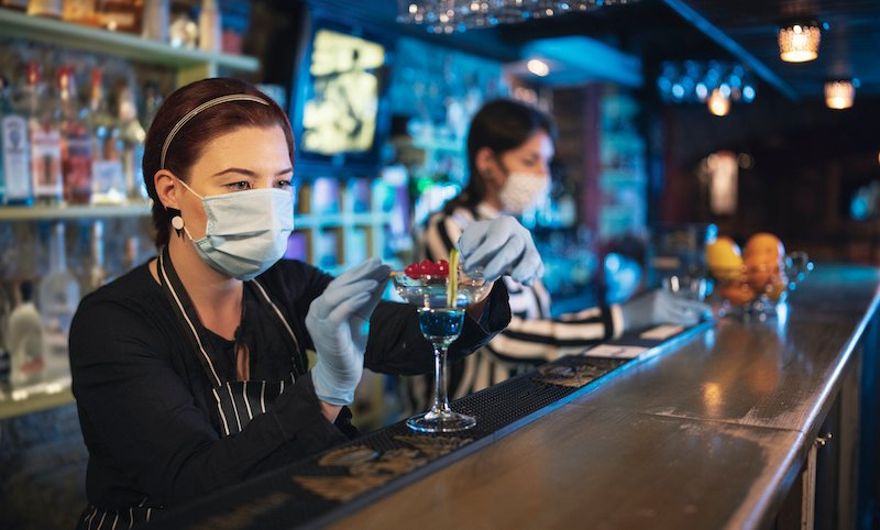 Bartender Women Working With Protective Face Mask.