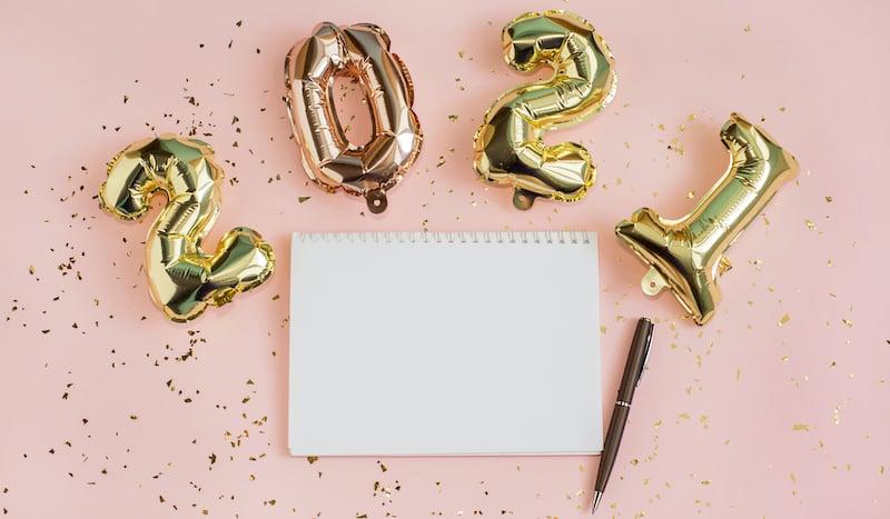 New Year Resolution 2021 Goal List. Foil Balloons
