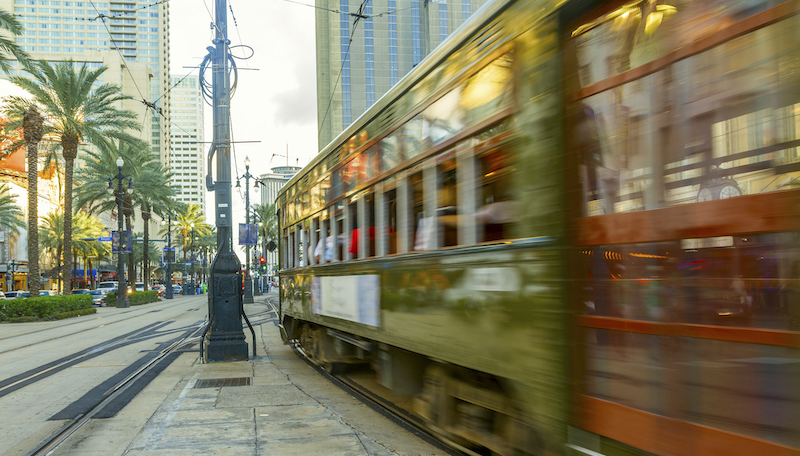 Blurred New Orleans Streetcar Running