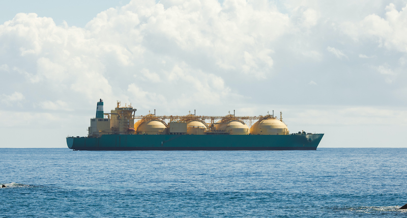 Liquefied Natural Gas Lng Transportation Tanker Ship, Blue Sea And Sunny Sky Background