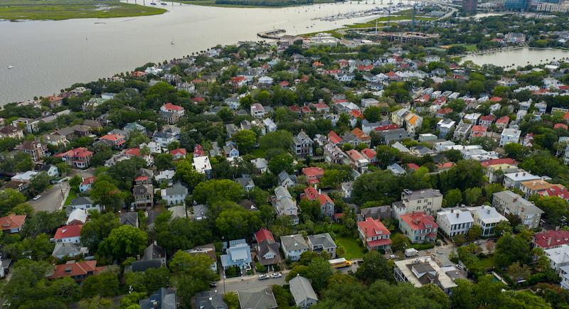 Aerial Photo French Quarter Charleston Sc Usa