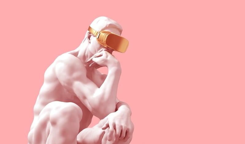 Sculpture Thinker With Golden Vr Glasses Over Pink Background