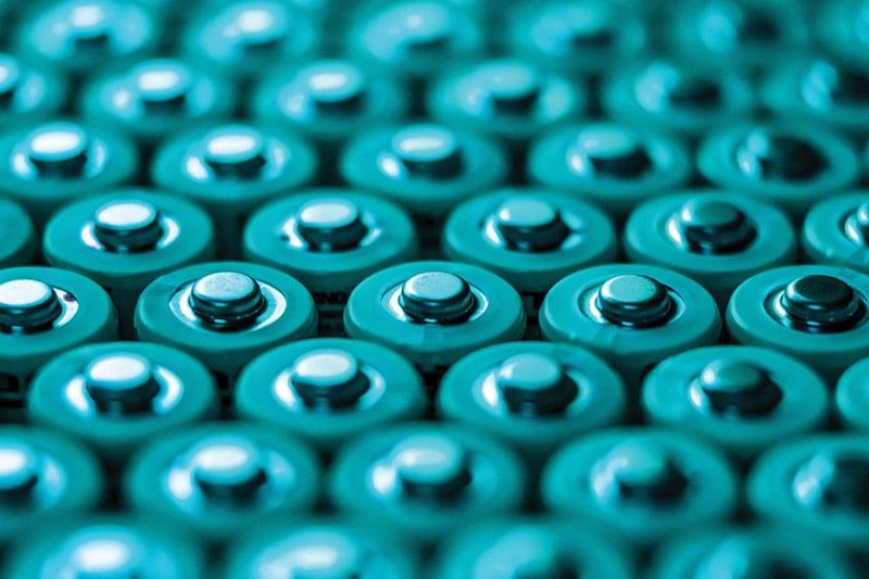 Many Lithium Batteries Under Green Light