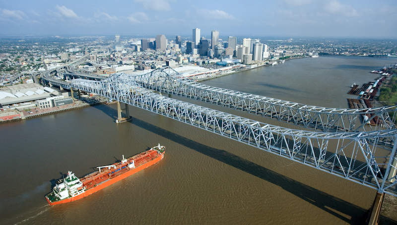 Aerial View Of Greater New Orleans Bridge, Louisiana