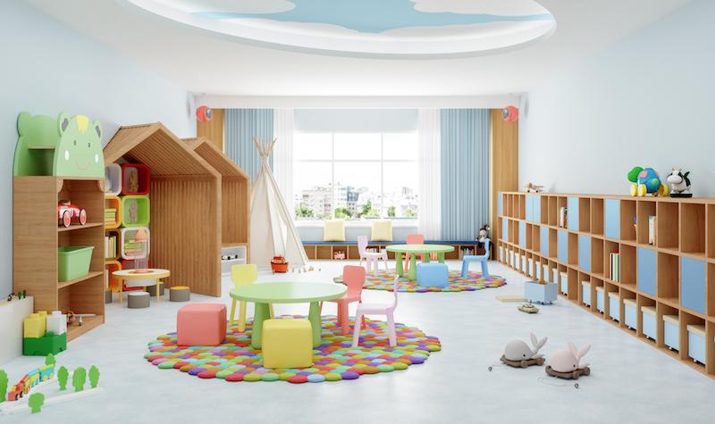 Interior Of A Modern Kindergarten Classroom