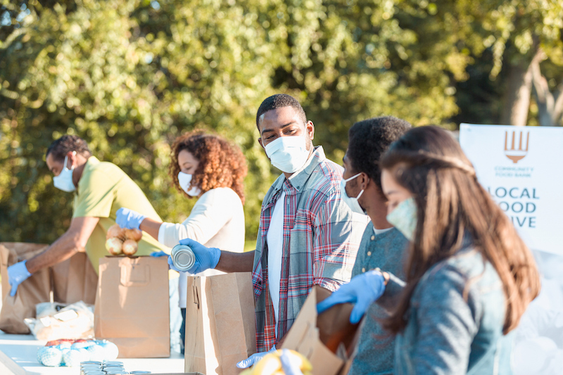 Community Food Bank Volunteers Working During Covid 19 Crisis