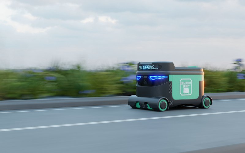 Delivery Robot Food Delivery Robots May Serve Homes In Near Future. Agv Intelligent Robot.