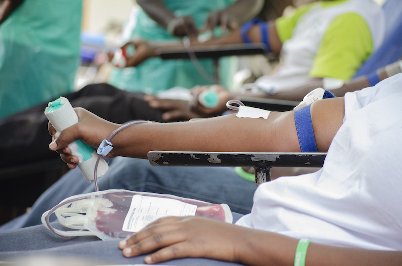 A Group Of Africans Donating Blood.