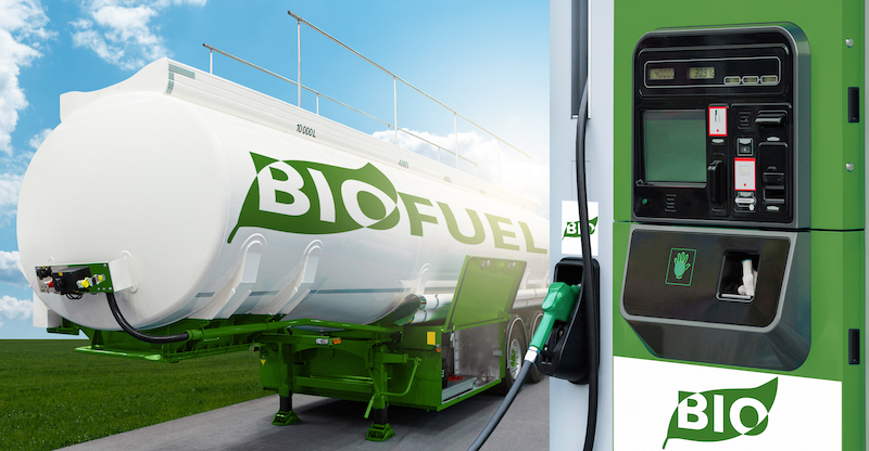 Tank Trailer With Biofuel And Filling Station