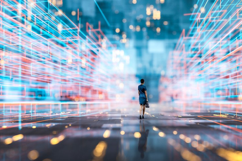 Futuristic City Vr Wire Frame With Businesswoman Walking