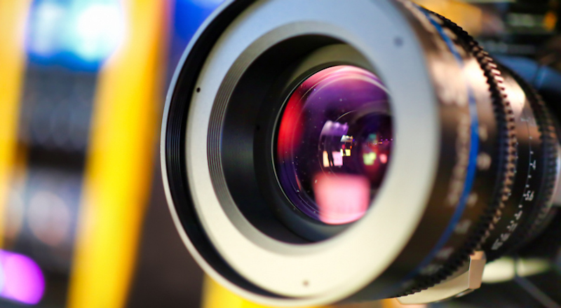 Camera Lens During Media Production Event