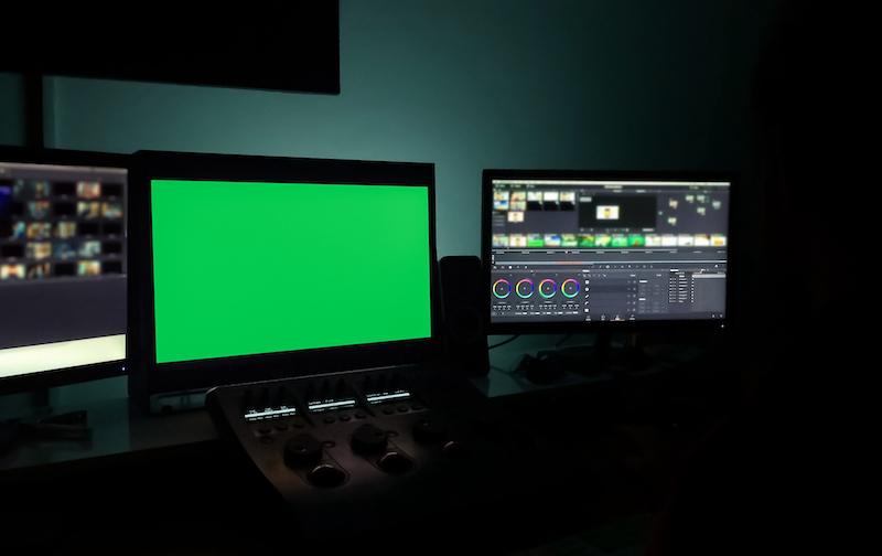 Color Grading Machine For Adjusting Color On Digital Video Movie With Green Screen