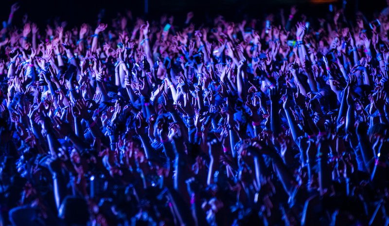 Crowd Of People Cheering At A Music Festival At Night