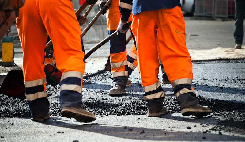 Workers On Road Construction
