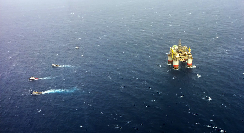 Towing Oil Rig Offshore Louisiana