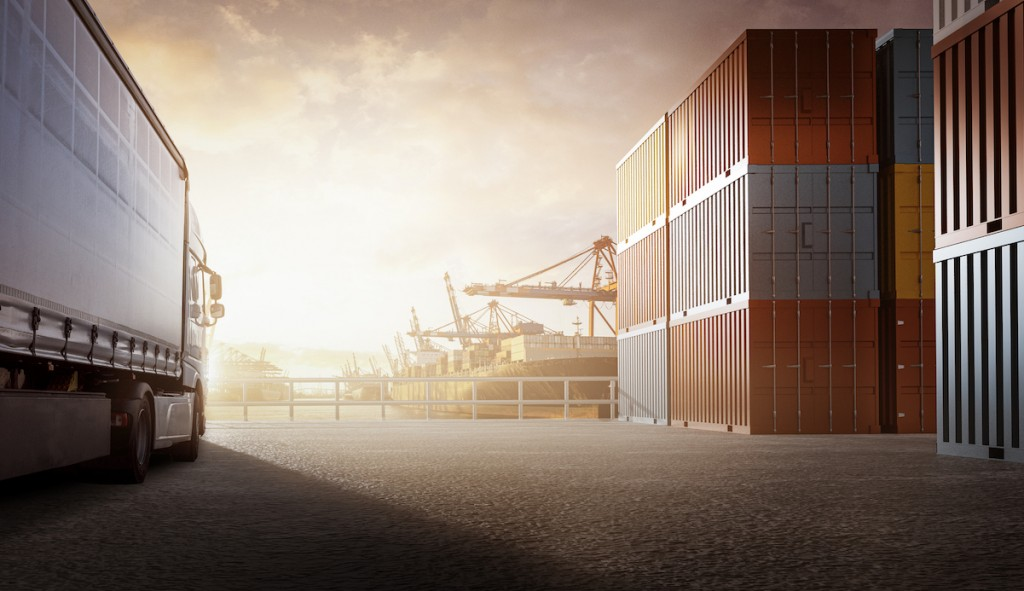 Truck In A Container Port