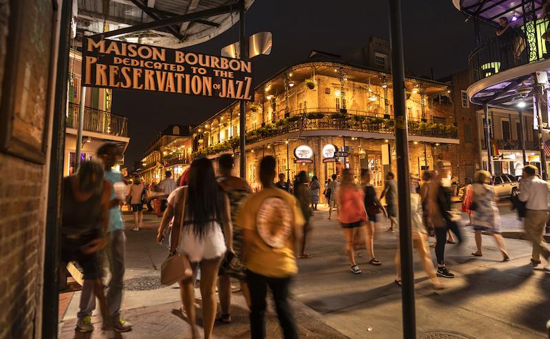 French Quarter Bars And Restaurants On Bourbon Street New Orleans Louisiana