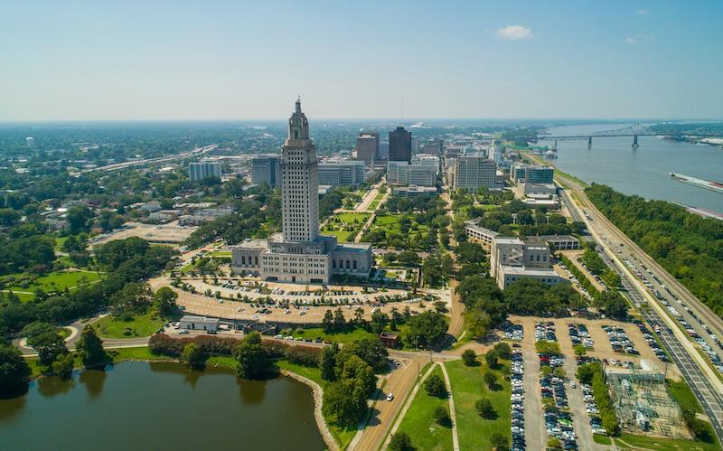 Aerial Photo Downtown Baton Rouge Louisiana Usa
