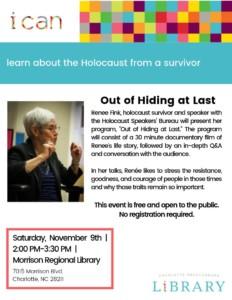 Out of Hiding at Last: Renee Fink of Holocaust Speakers' Bureau @ Morrison Regional Library | Charlotte | North Carolina | United States