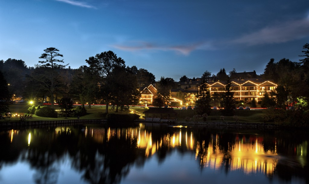 Lake And Lodge At Night Brighter