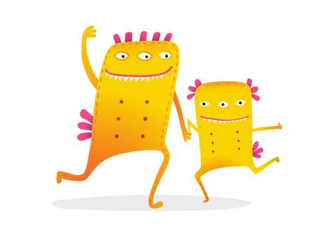 122797634 Stock Vector Funny Monster Kids Cartoon With Dancing Playing Together Monsters