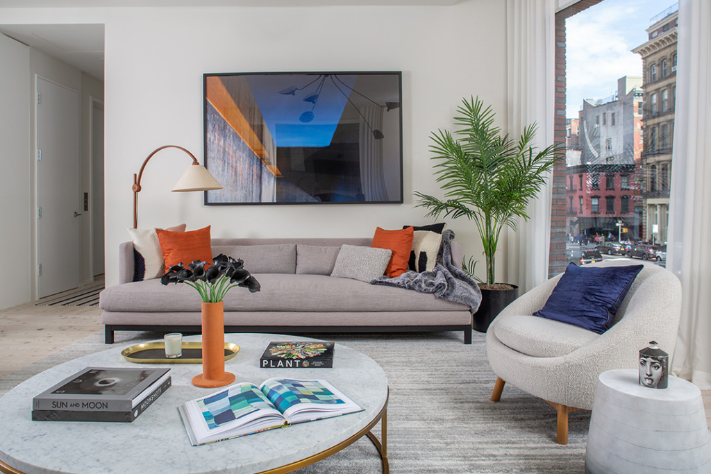 Chic Scandinavian Living Room with sofas and a coffee table