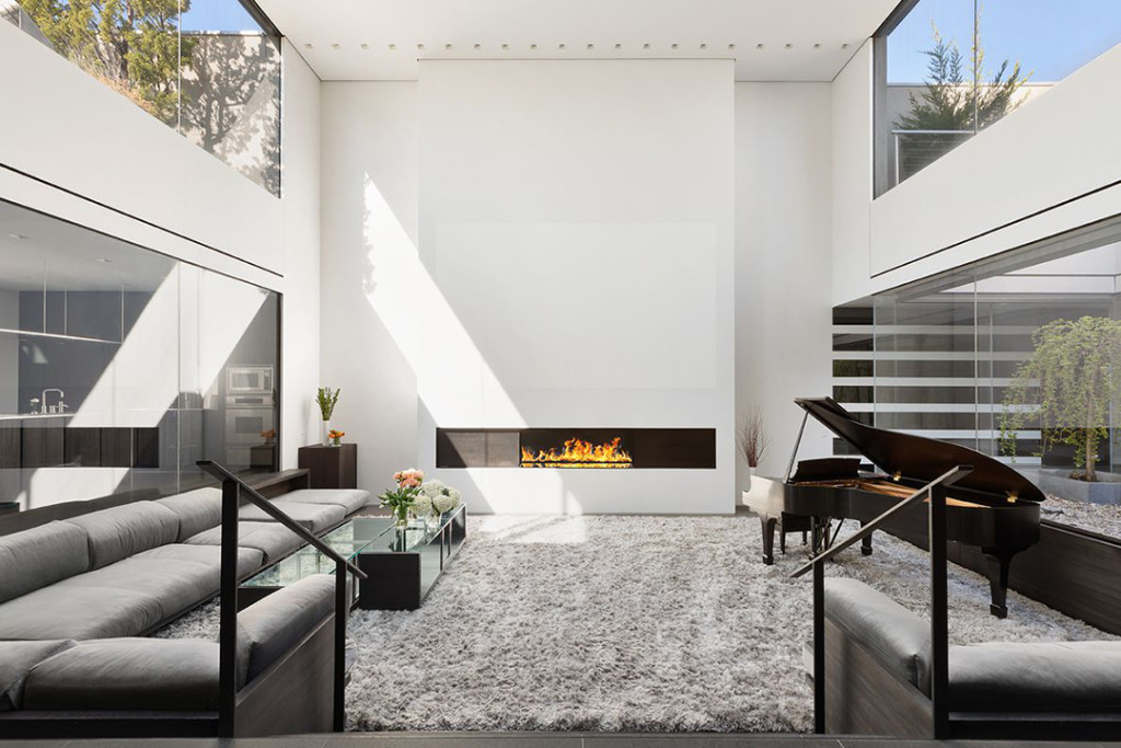 Sleek modern fireplace in a SoHo penthouse