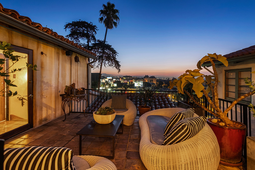 Sunset over a terrace in West Hollywood at Aaron Paul's Home