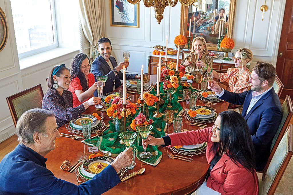 Friends Cheer to a Thanksgiving Feast