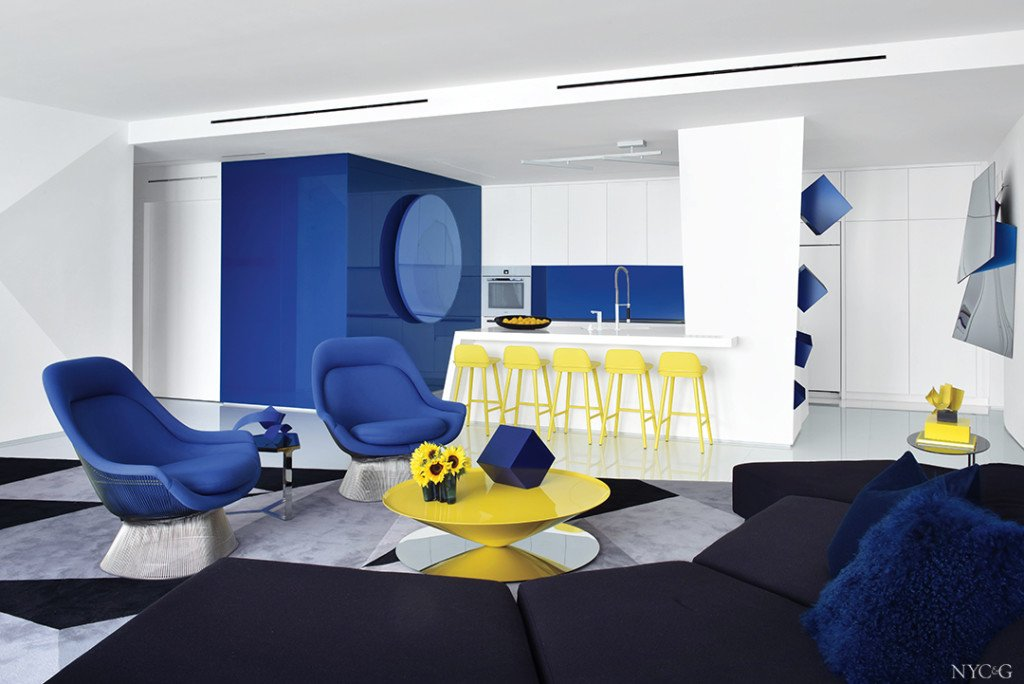 contemporary great room with yellow and blue furniture