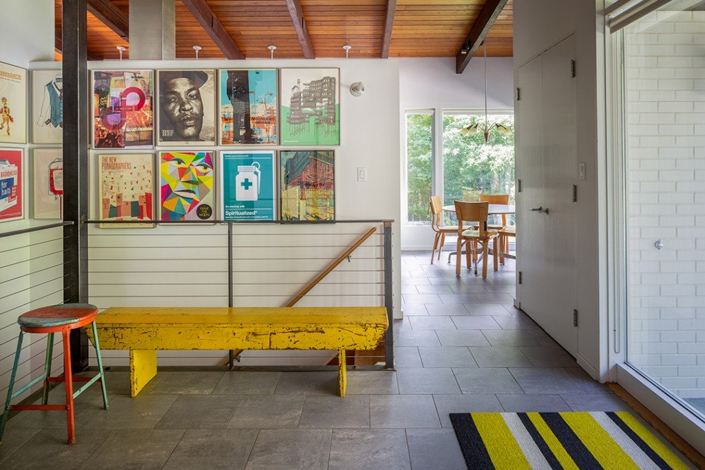 Entryway in a Midcentury Modern in New Milford