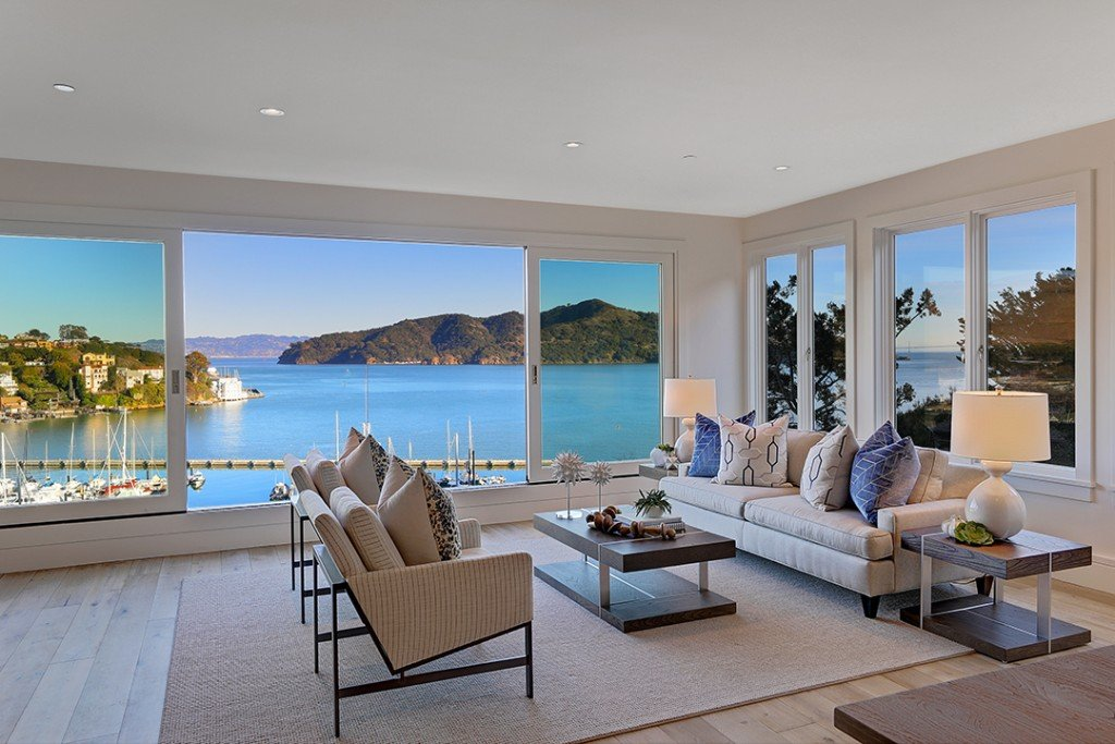 Living room at the Ultimate Waterfront home on Belvedere Island