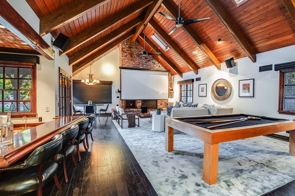 Game/media room at a Criminal Minds star's Toluca Lake Home