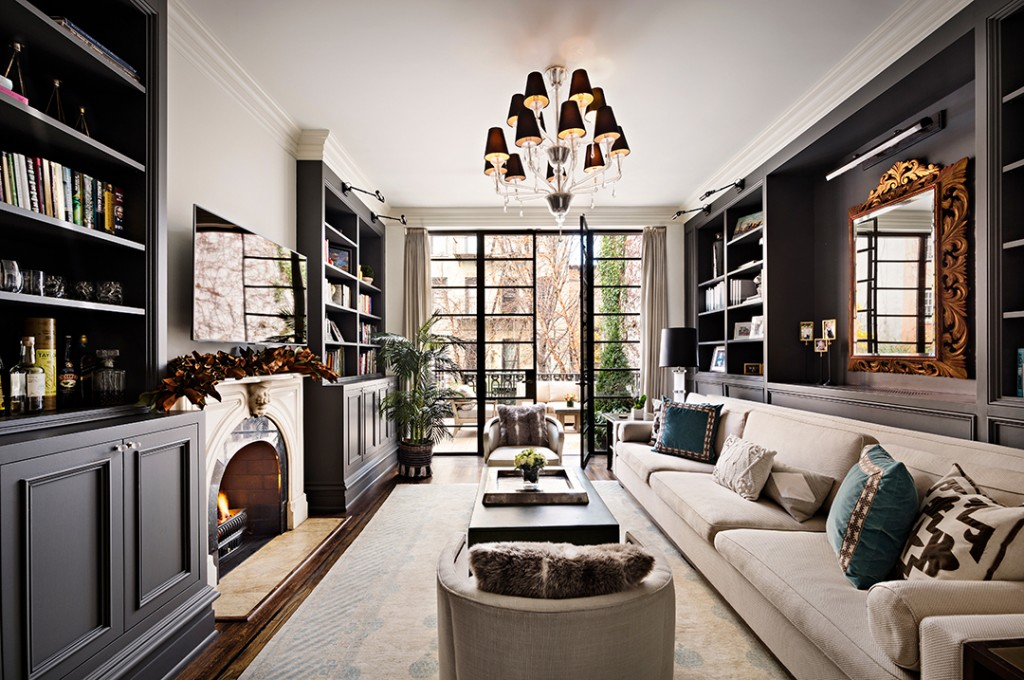 Living room at Hilary Swank's Former West Village Townhouse