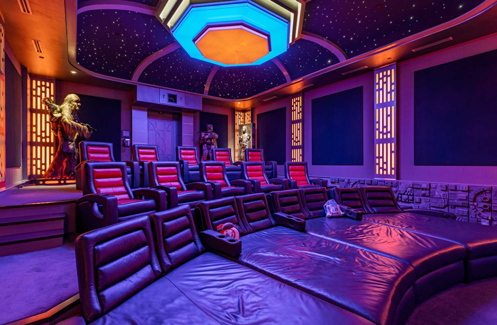Movie theater in a Star Wars-themed mansion