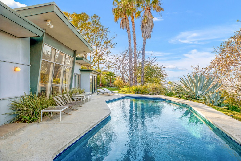 Grammy Award Winning Composer Lists Chic Midcentury Modern In Hollywood Hills Pool