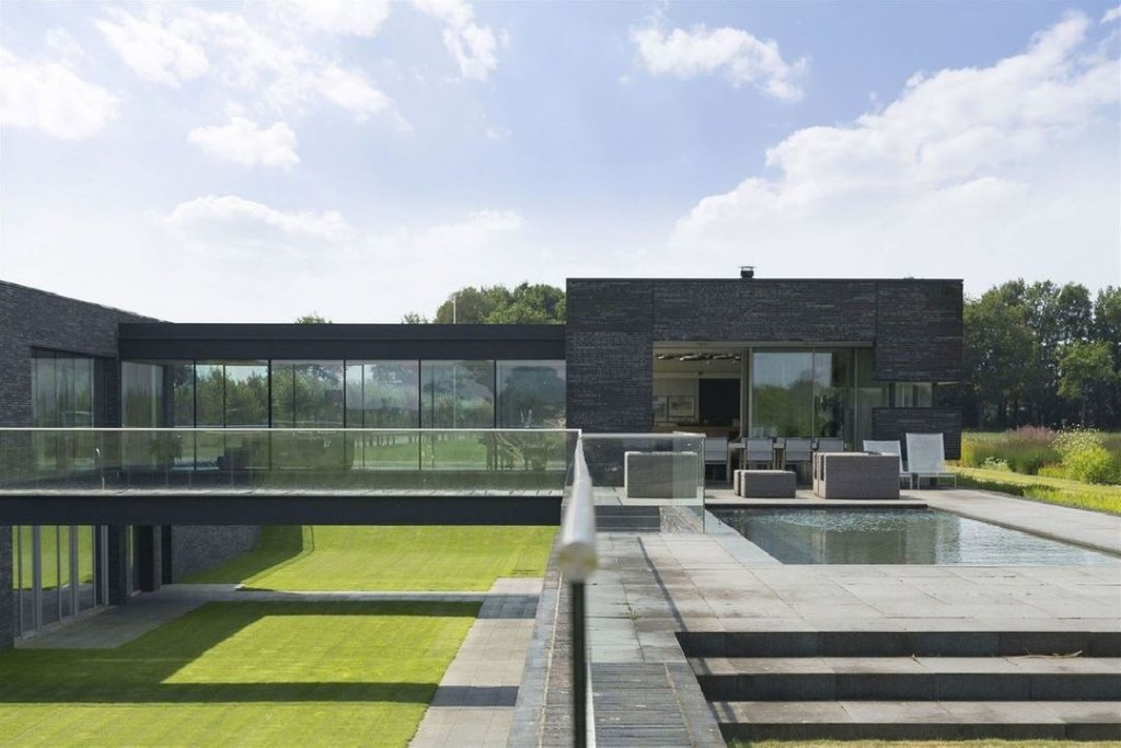 Hamersveldseweg Netherlands Modern Villa Pool and Glass Bridge