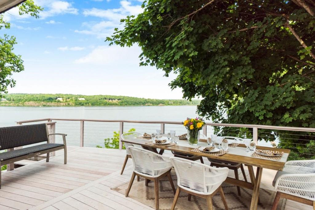 Luann De Lesseps Hudson Riverfront Home Outdoor Dining