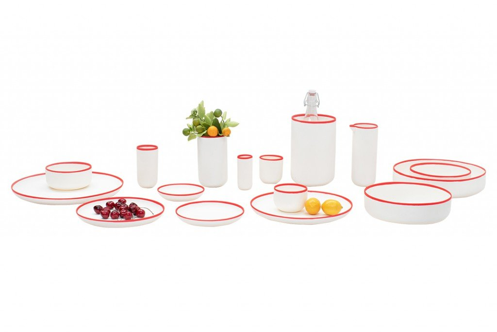 Simm's White and Red Tableware