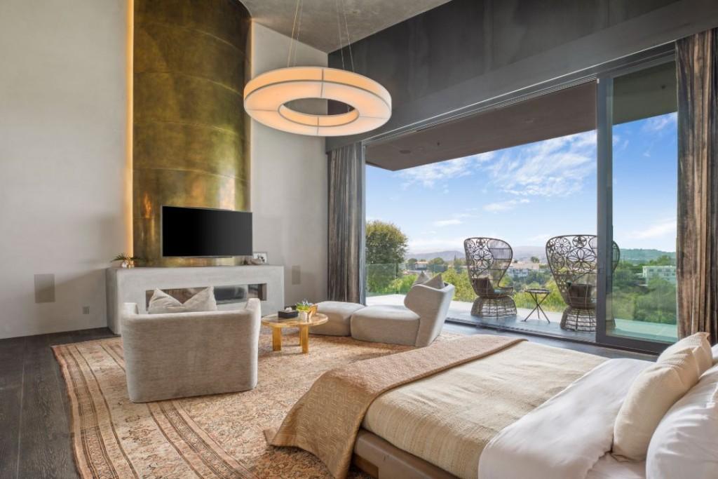 John Legend Chrissy Teigen Beverly Hills Home Master Bedroom Fireplace