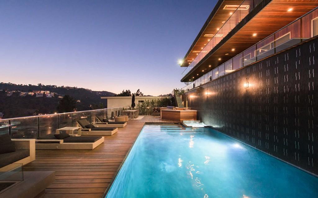 Teddi Mellencamp Of Rhobh Lists Hollywood Hills Modern With Panoramic Views Pool Night