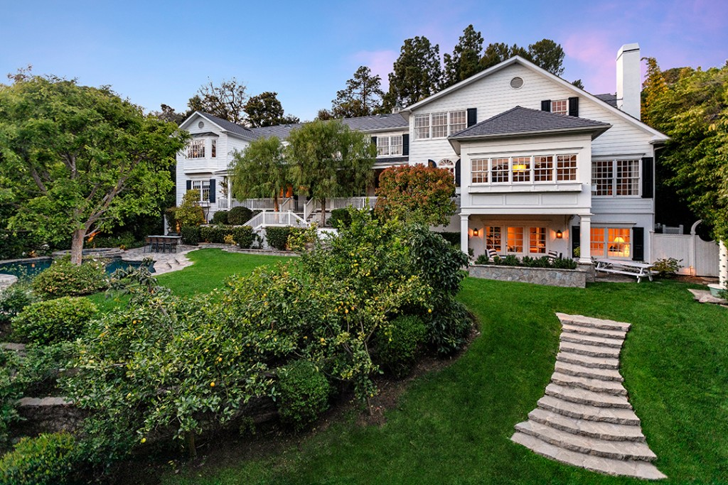 Mila Kunis And Ashton Kutcher Lists East Coast Style Hidden Hills Home Exterior