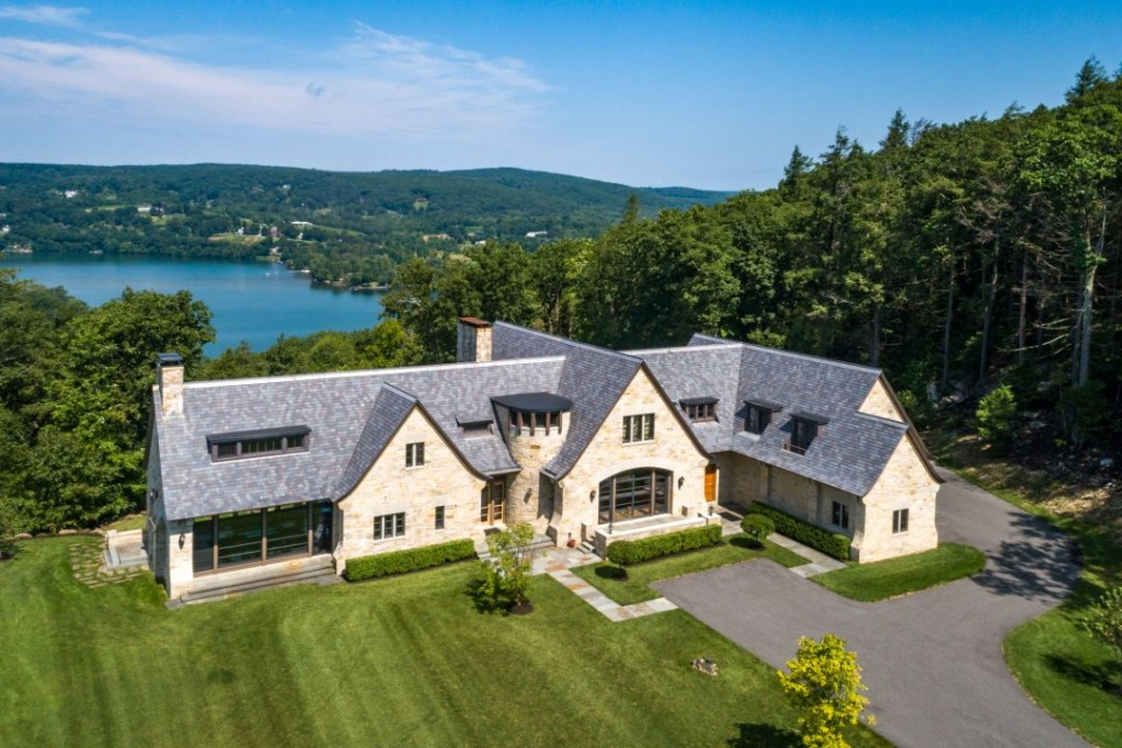 Washington Connecticut Modern Lakehouse Aerial