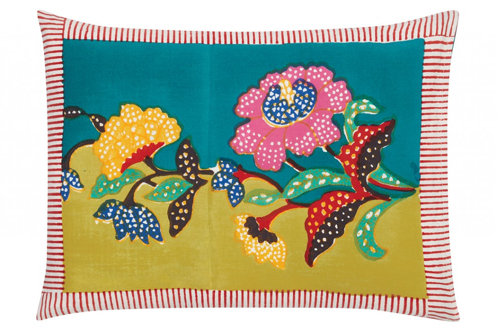 Floral Cushion Cover With Cabana Stripes