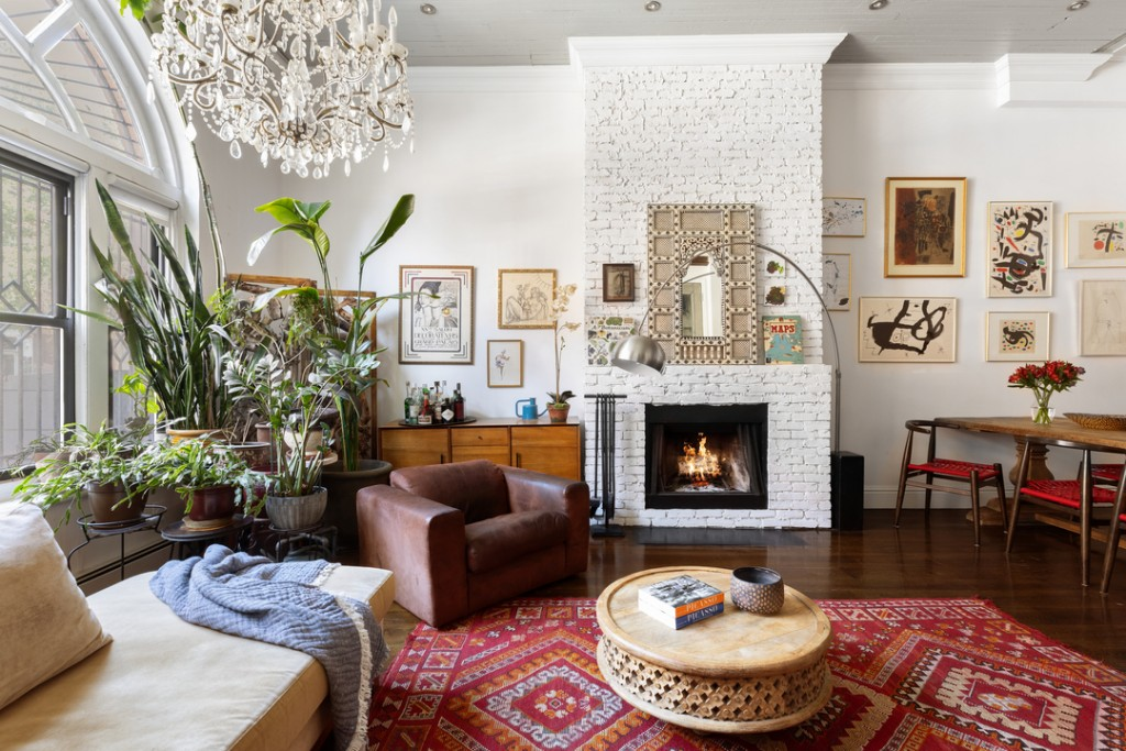 Notorious Big Former Fort Greene Apartment Living Room Fireplace