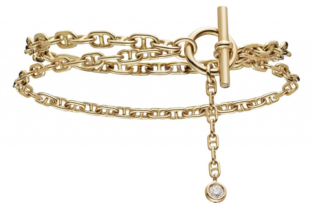 gold double chain bracelet with diamond