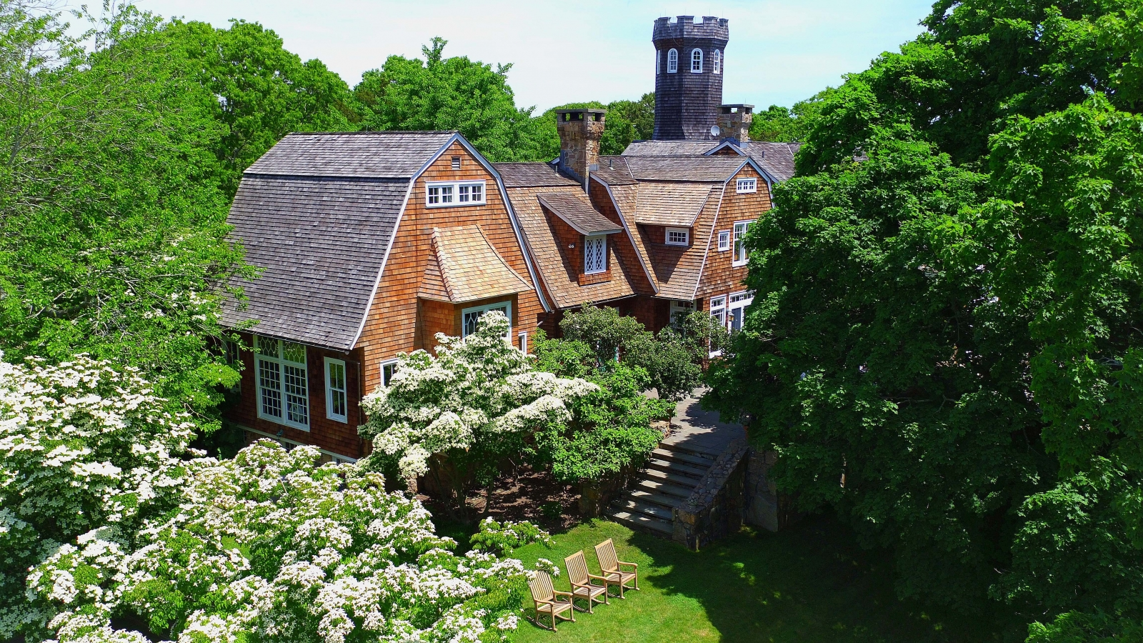 "Christie Brinkley's charming shingle-style estate called ""Tower Hill."""