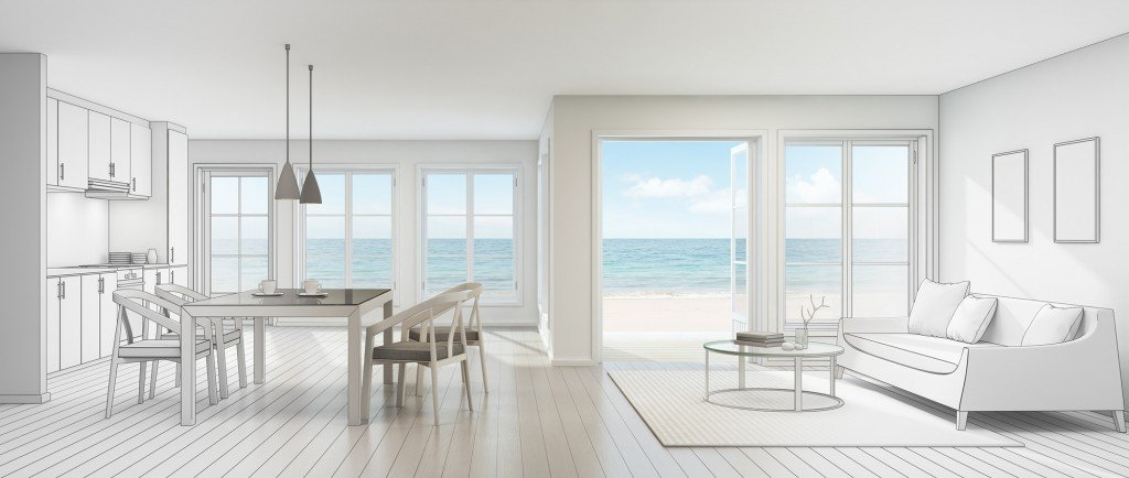 Sketch Design Of Sea View Interior In Modern Beach House