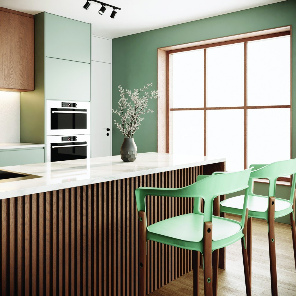 Japandi Style Kitchen Interior With Wooden Furniture And Large Window. Modern Scandinavian Apartment Design. 3d Rendering Background