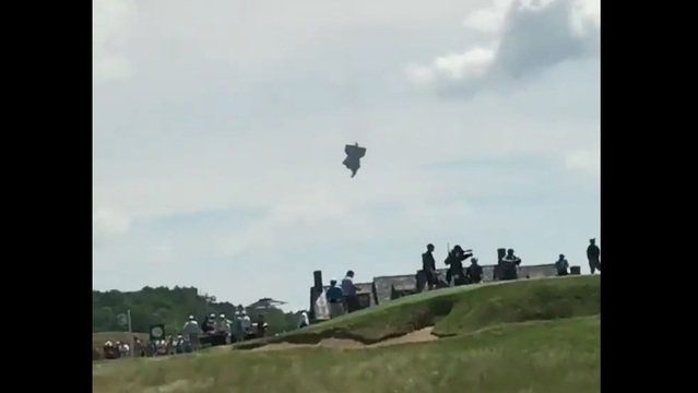 Blimp catches fire and crashes near US Open